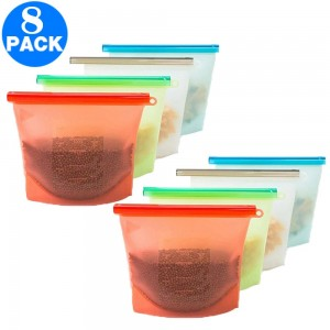 8 Pack 1500ml Reusable Silicone Food Bags