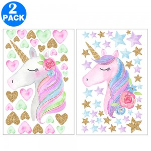 2 X Unicorn Wall Stickers Style 1 and Style 2