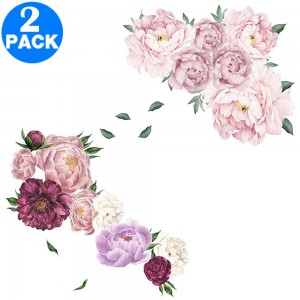 2 X Flower Wall Stickers Pink and Purple