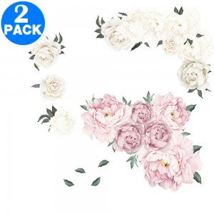 2 X Flower Wall Stickers Pink and White