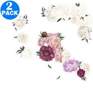 2 X Flower Wall Stickers Purple and White