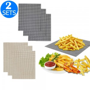 2 X Sets of Six Reusable BBQ Grill Mesh Mats Beige and Black