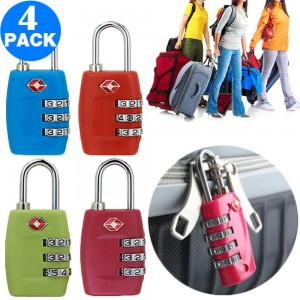 4 X TSA Travel Luggage Locks Red and Green and Light Blue and Rose Red