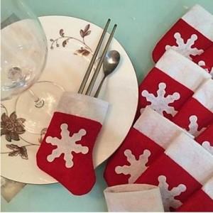 8X13cm 6 Pcs-set Christmas Mini Stocking Cutlery Tableware Holder Ornaments