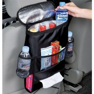 Multi-Pocket Car Back Seat Organizer with Insulated Cooler Pocket Black