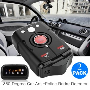 2PK Speed V8 Laser Radar Detector 16 Band Auto 360 Degrees Voice Alert Warning Car Locators