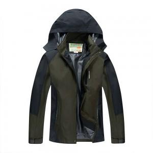 Outdoor Waterproof Winterproof Hooded Jacket for Men Grey