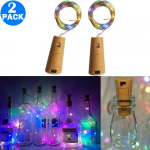 2 Pack Funky Bottle Stopper String Lights Multicolor