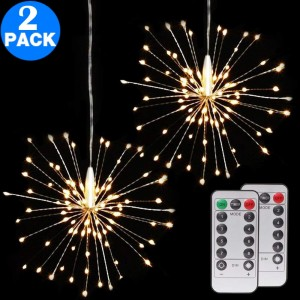 2 Pack 120 Bright Remote Control Explosion Star LED Fireworks Light Warm White