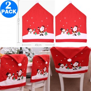 2 X Christmas Red Hat Chair Covers