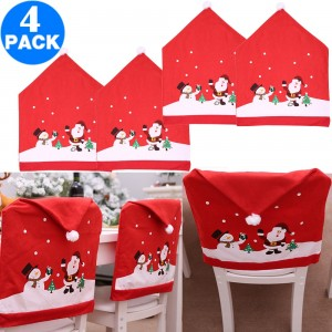 4 X Christmas Red Hat Chair Covers