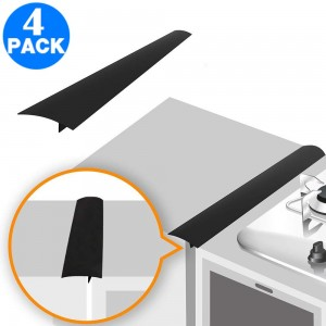 4 Pack Silicone Kitchen Stove Counter Gap Cover Black