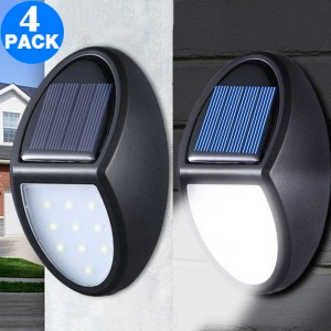 4 Pack 10 LED Waterproof Solar Power Wall Lights