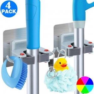 4 Pack Drill Free Mop Broom Wall Holder with Hooks Same Colour