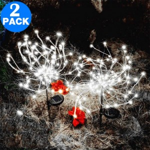 2 X DIY Solar Powered LED Garden Decorative Lights White