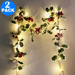2 X Christmas Red Fruit Rattan Decoration Warm White String Lights