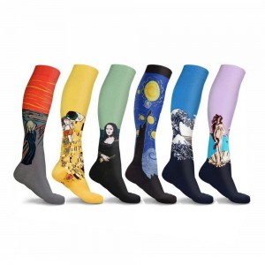 6 Pairs Famous Painting Compression Socks L