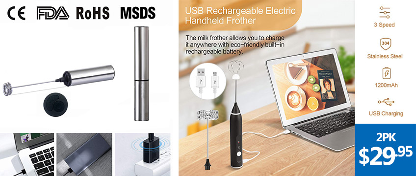 USB Rechargeable 3 Gear Adjustable Speed Milk Coffee Frother