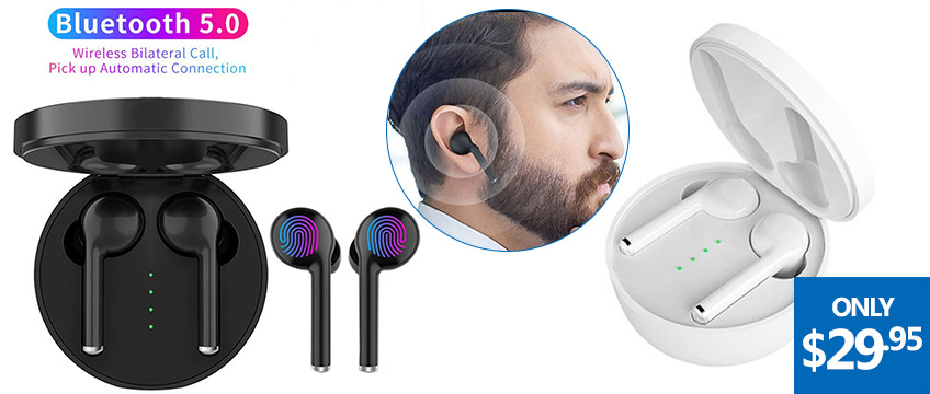 Wireless Bluetooth 5.0 Stereo Earbuds & More