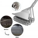 BBQ Grill Cleaning Brush and Scraper Bristle Free Barbecue Cleaner with Triple Head Scrubber for Grill Cooking Grates and Racks Style 2