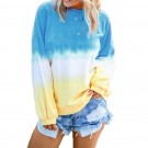 Womens Casual Crewneck Long Sleeve Gradient Contrast Pullover Blouse Tops Loose Sweatshirts Dark Blue