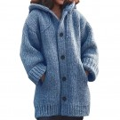 Women Hooded Button Knit Cardigan Coat