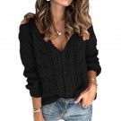 Womens Hollow V Neck Knit Tops