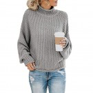 Women High Collar Pullover Knitted Tops Sweater