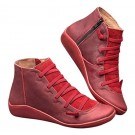 Women Arch Support Ankle Booties with Side Zipper Red