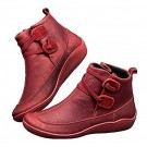 Women PU Leather Flat Ankle Booties