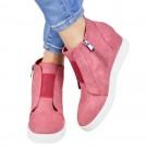 Women High Thick Heel Side Zipper Boots Pink