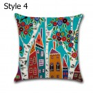 6 X 45CM X 45CM Cartoon Village Cushion Cover