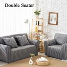 Double Seater Home Form-Fitting Elastic Cotton Sofa Cover - Grey Stripe