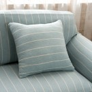 Three Seater Home Form-Fitting Elastic Cotton Sofa Cover - Light Blue Stripe