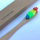5 X Bamboo Toothbrushes with Rainbow Bristles