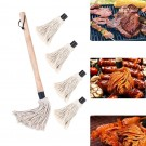 BBQ Grilling Basting Mop Brush Roasting Heat Resistant Wooden Handle with 5 Replacement Heads