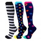 Three Pairs of Unisex Women Men Small Knee-Length Printed Compression Socks
