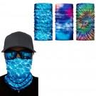 3 X Green Blue Light Blue Galaxy Printed Reusable Cycling Mask Scarf
