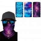 3 X Purple Blue Light Blue Galaxy Printed Reusable Cycling Mask Scarf