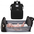 Foldable Large Capacity Mommy Backpack Diaper Bag with Baby Bed Black