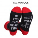 2 Pairs of Unisex GOOD LUCK ON THE WAY 2021 Letter Printed Socks Black and Red White and Grey