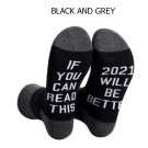 4 Pairs of Unisex GOOD LUCK ON THE WAY 2021 Letter Printed Socks Black and Grey White and Grey