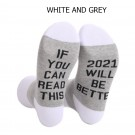 2 Pairs of Unisex GOOD LUCK ON THE WAY 2021 Letter Printed Socks Black and Grey White and Grey
