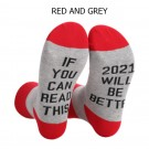 2 Pairs of Unisex GOOD LUCK ON THE WAY 2021 Letter Printed Socks Black and Grey Red and Grey