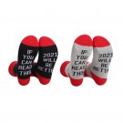 2 Pairs of Unisex GOOD LUCK ON THE WAY 2021 Letter Printed Socks Black and Red Red and Grey