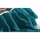 Knitted Winter Lounge Throw Blanket Tassel Shawl Couch Blanket Bed Blanket Blue