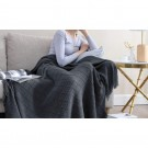 Knitted Winter Lounge Throw Blanket Tassel Shawl Couch Blanket Bed Blanket Grey