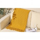 Knitted Winter Lounge Throw Blanket Tassel Shawl Couch Blanket Bed Blanket Yellow