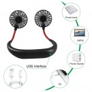 2 X USB Neck Hanging Portable Fan Green and Black