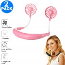 2 X USB Neck Hanging Portable Fan Pink